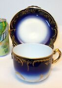 Antique Vtg Russia Kuznetsov Moscow Cup Saucer Imperial Cobalt Blue Gold