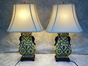 Pair Of Asian Table Lamps W/ Shades Blue/yellow Glaze W/ Leviton Sockets Work
