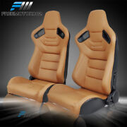 Adjustable Universal Racing Seat Brown Pu And Carbon Leather Pair And 2 Dual Sliders