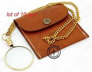 Nautica Brass Magnifier Key Chain Pocket Magnifying Glass With Leather Case