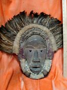 Masterfully Crafted Dan Mask With Feathers Andmdash Authentic Carved Wood African Art
