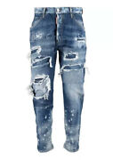 £840 Dsquared2 Runway Distressed Patchwork Jeans - Made In Italy