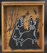 Klone Signed Acrylic And White Ink On Old Wood Drawer Painting 'capricorn' Zodiac
