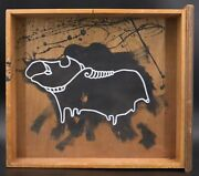 Klone Signed Acrylic And White Ink On Old Wood Drawer Painting 'aries' Zodiac Sign