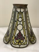 John Morgan And Sons Antique Reverse Painted Stained Glass Lamp Shade Arts Crafts