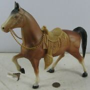 """Vintage 1950's Hard Plastic Western Horse With Saddle Ws Hong Kong 8"""" Tall"""