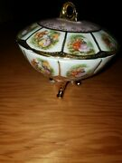 1896 Limoges Antiques Hand Painted Flowers Powder Jar Dresser Box Rare Marked