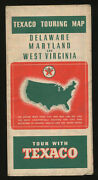 Vtg 1938 Touring Road Map Tour With Texaco Oil Delaware Maryland West Virginia
