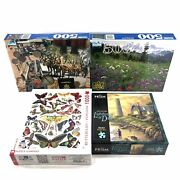 Ny Puzzle Company Butterflies Papillons 1000 Piece Lot Of 4 Guild 500 Prism 500