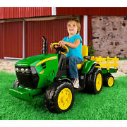 Kids 12v Tractor Ride-on Toy John Deere Ground Force With Trailer Fm Radio New