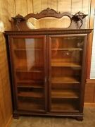 Antique Vintage Oak Curio Display China Cabinet Mirrored Glass Doors