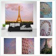 Pink Ferris Wheel Eiffel Tower Tapestry Art Wall Poster Hanging Sofa Table Cover