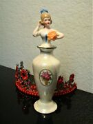 Lusterware Figural Lady, Half-doll W/ Rose Perfume Bottle Cork And Glass Dabber