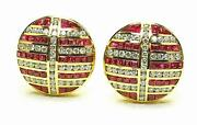 Modern Estate 18k Yellow Gold 1.00ct Diamond And .70ct Ruby Ladies Button Earrings