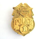 Harley Vintage 1980and039s Police Number 1 Brass Belt Buckle And Pin