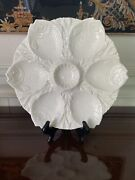 Very Rare Minton Majolica Oyster Plate, Antique,1892, White, Whole Fish Wells
