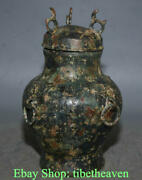 10.4 Ancient China Bronze Ware Shang Dynasty Beast Ear Ring Word Bottle Vessel