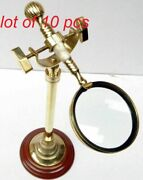 Collectible Magnifying Glass With Brass Wood Desk Stand Magnifier Decor Item