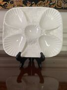 Very Rare Minton, Mintons Majolica Oyster Plate Antique Basket Weave 4 Wells