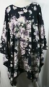 Plus Size Poncho Style Top/tunic Wolfis Fabric Blue/purple Floral1x-2x3x-4x