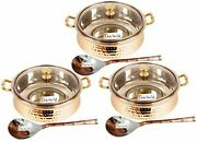 Hammered Steel Copper Casserole Donga Glass Lid With Spoon 250 Ml- Set Of 3