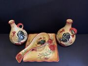 Honey Poppy Rooster Tray Spoon Rest And Oil And Vinegar Set Colorful Vintage