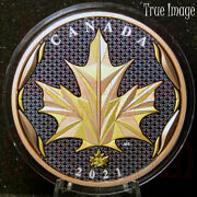 2021 Maple Leaf In Motion 50 Pure Silver Yellowandrose Gold Plated Coin Canada