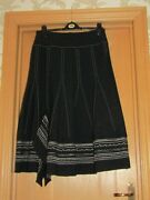 Pause Cafe Wool Blend Black Panel Lined Skirt Embroidered Midi Uk 12/14 Textured