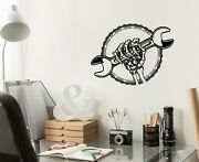 Vinyl Wall Decal Skull Wrench Garage Decor Auto Repair Tool Stickers G4719