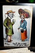 D2330estate Collection Signed Louis Wain -cats Dressed Peopleharrogate Waters