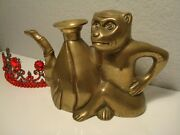 Oriental Brass Monkey Pitcher/teapot With Bamboo Spout - Signed