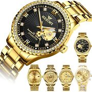 Waterproof Gold Menand039s Diamond Watch Classic Stainless Steel Quartz Business Gift