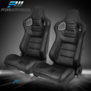 Adjustable Universal Racing Seat Black Pu And Carbon Leather Pair And 2 Dual Sliders