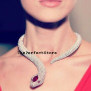 Natural Rosecut Diamond Ruby Antique Snake 925 Silver Necklace Jewelry