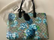 New Blossoms Reversible Gg Blooms Textured Leather Tote Bag Blue 2400