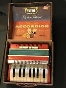 Vintage Antique Mid Century Emenee Musical Toys Golden Piano Accordion Toy And Box
