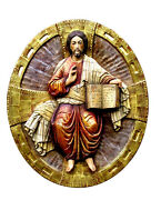 Relief Icon Jesus Christ Wood, Pantocrator, Christ King Wood Wall Picture Wood