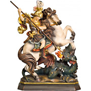 New Wood Sculpture Soldier On Horseback Dragon Pieces Georg 16 1/2in Figurine