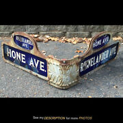 2 Antique Double Side Nyc Porcelain Street Signs Hone And Rhinelander Ave Corner