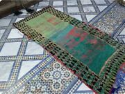 Vintage Moroccan Rug Azilal 4and039x10and039 Teal Green Pyramid Checkerboard Border 1960s