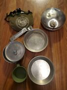 Vintage Boy Scouts Of America Official Tin Mess Kit + 2 Canteens Cloth Cover Bsa