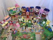 Fisher Price Sweet Streets Dollhouse Huge Lot Accessories Houses Bus People