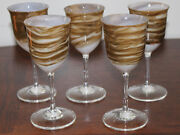 Set Of 5 Steven Maslach Earth Art Glass Wine Goblets Signed And Dated 12-79 Mint