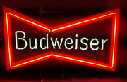 Vintage '1980' Budweiser Neon Bow Tie Light By Anheuser-busch, Inc.