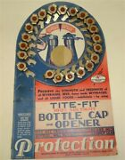 21 Nos 1940s 1950s Vintage Bottle Caps / Openers On Counter Display