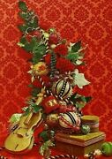 Alice Daly Violin Beaded Ball Ornament Christmas Decorations Vtg Card Front Only