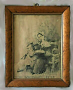 Antique 1830s Early Victorian Folk Art Grieving Death Pencil Drawing Maple Frame