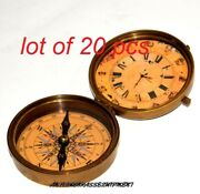 Vintage Maritime 4 Brass Compass And Watch Brown Collectible Nautical Gift Item