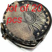 Antique Nautical Round Sundial 2.5 Brass Navigation Compass With Leather Box