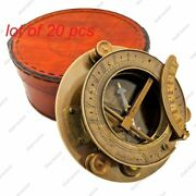 Brass Nautical Antique Top Grade Round Sundial Compass With Leather Case Gift